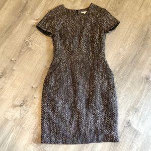 Boden Tweed Shift Dress Brown Metallic Sz 8
